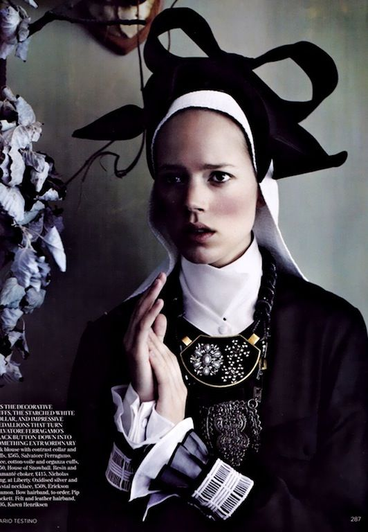 """Master Class"": Arizona Muse & Freja Beha Erichsen as Dutch and Flemish Portraits by Mario Testino for UK Vogue"