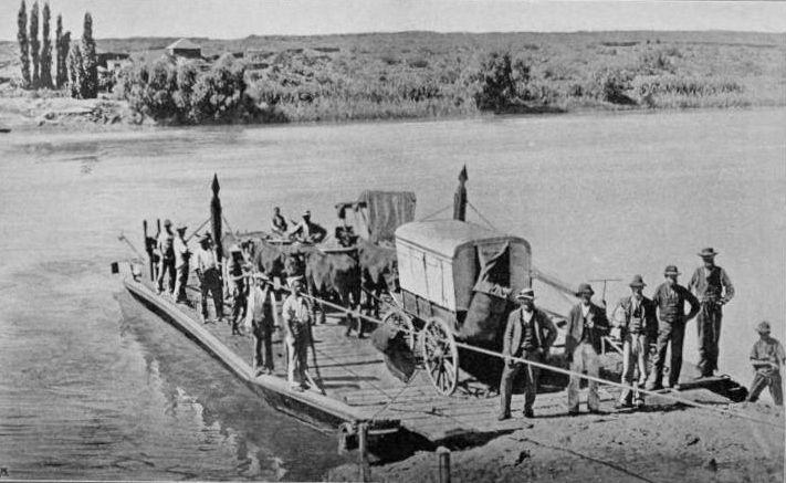 Burgers op 'n pont by die Vaal   ( Krediet aan: Rompel's Heroes of the Boer War)