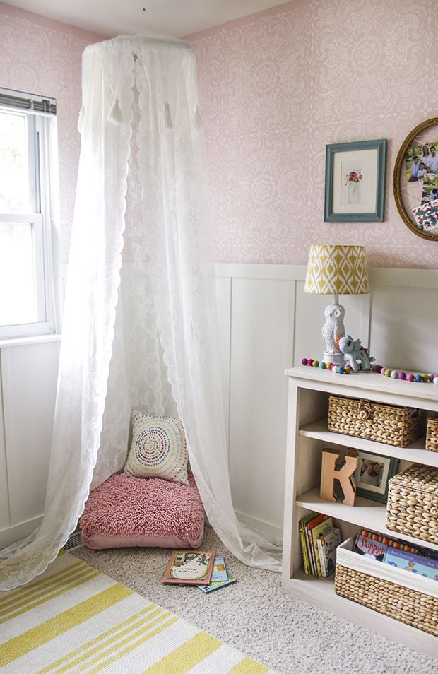 Cute and Pretty Little Girls Bedroom Makeover - what little girl wouldn't love a corner like this one?