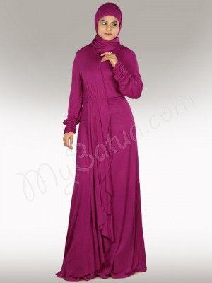 Shop Designer Pink Jersey Abaya Online   MyBatua.com   http://www.mybatua.com/iba-pink-jersey-abaya-muslimah-evening-dress  Iba Jersey Abaya!