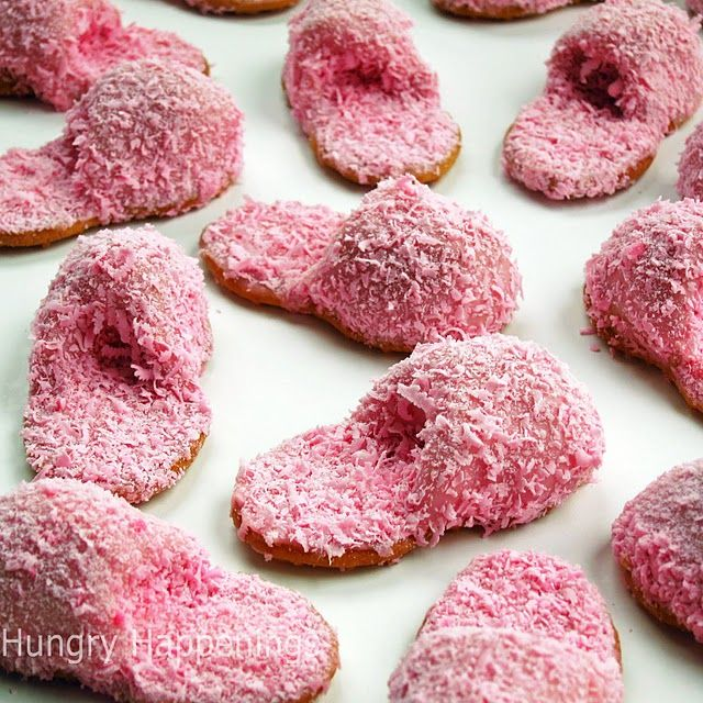 pink fuzzy slipper cookies: Slippers Cookies, Nutter Butter, Girls Night, Slumber Parties, Fuzzy Slippers, Spa Parties, Parties Ideas, Pajamas Parties, Sleepover Parties
