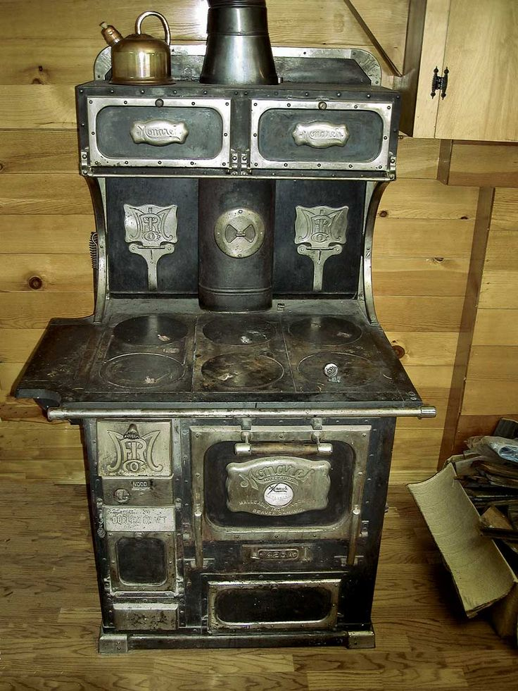 Antique, Wood Burning Monarch Malleable Steel Range, Note the nickel plated  trim, including two fold-down Trivets. The stove top could be used to heat  sad ... - 98 Best Old Heat Stoves Images On Pinterest Antique Stove, Wood