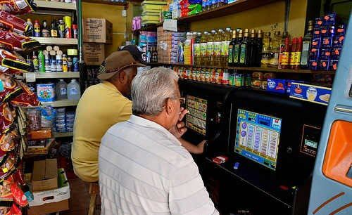Gambling in the grocery store.
