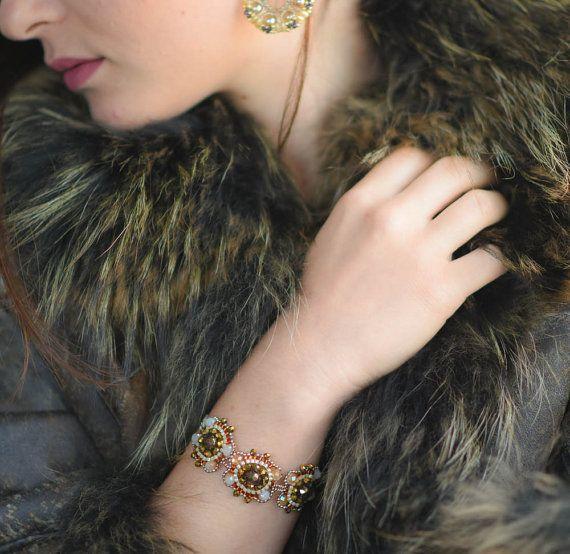 handbeaded bronze and gold  bracelet with miyiuki  by TreGrazie