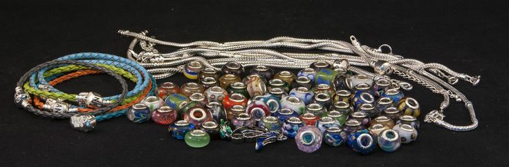 Murano Glass Beads and bracelets European sizing approx 70 beads and bracelets