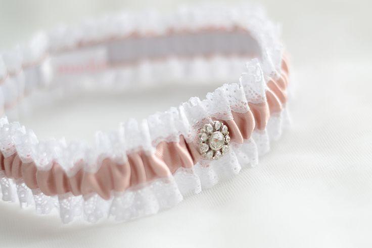 Pink garter, lace wedding garter, bridal garter, crystal garter