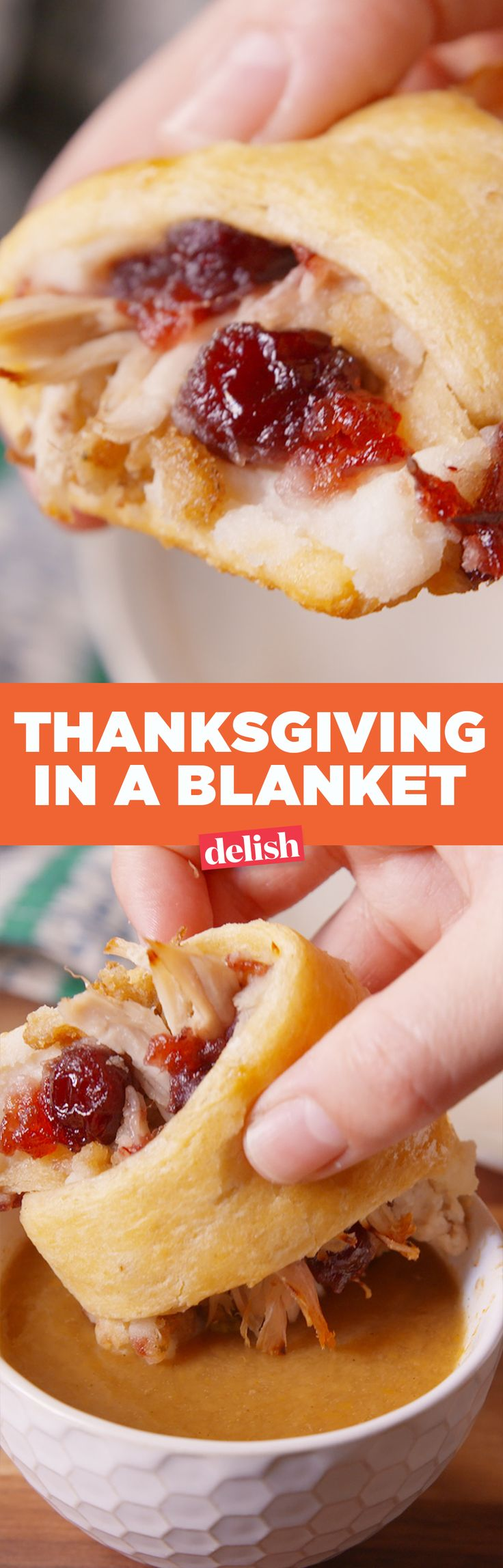 Thanksgiving in a blanket is the most delicious thing you can do with your leftovers. Get the recipe on Delish.com.