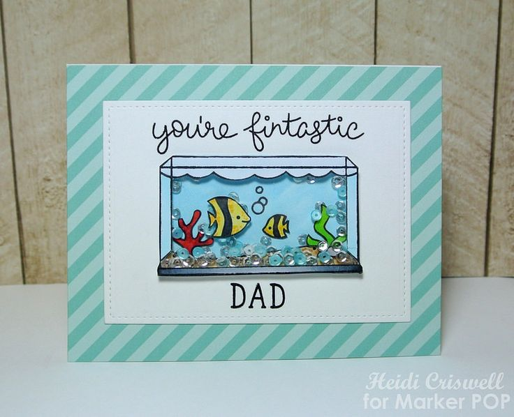 Lawn Fawn - Fintastic Friends, Claire's ABCs, Stitched Rectangle Stackables, Let's Polka 6x6 paper _ Father's Day Shaker card by Heidi via Flickr
