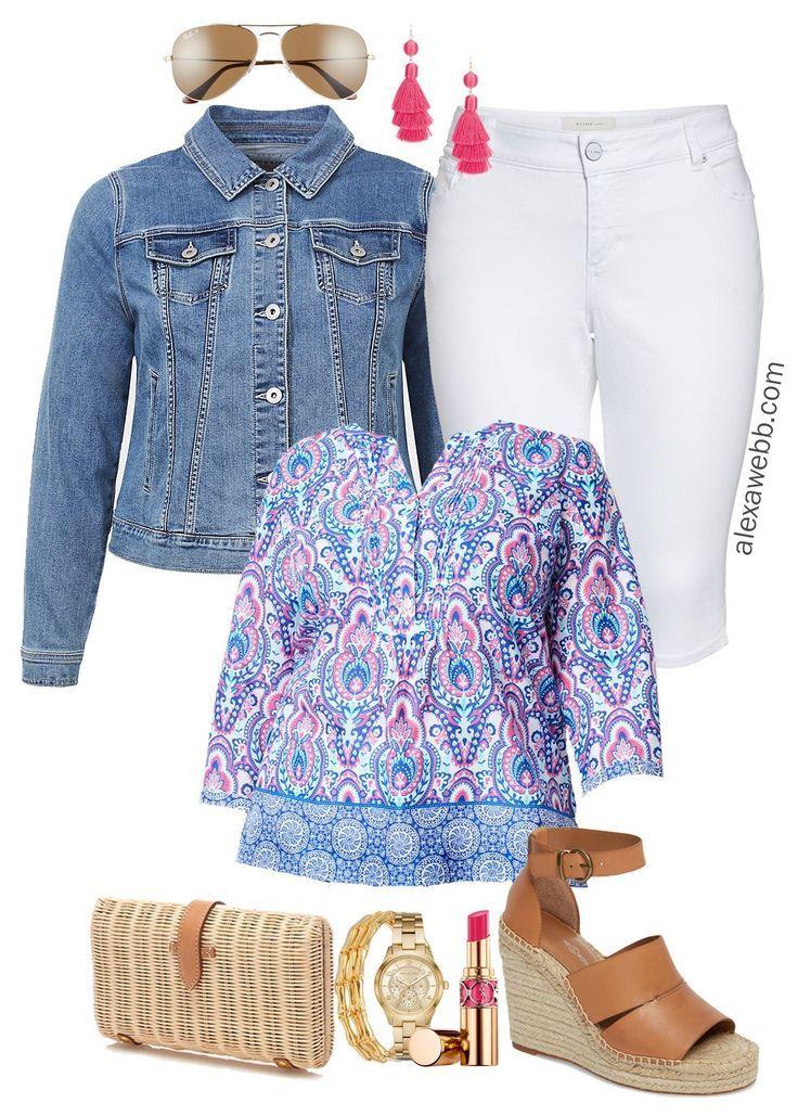 white summer skirt outfit idea plus size fashion blogger