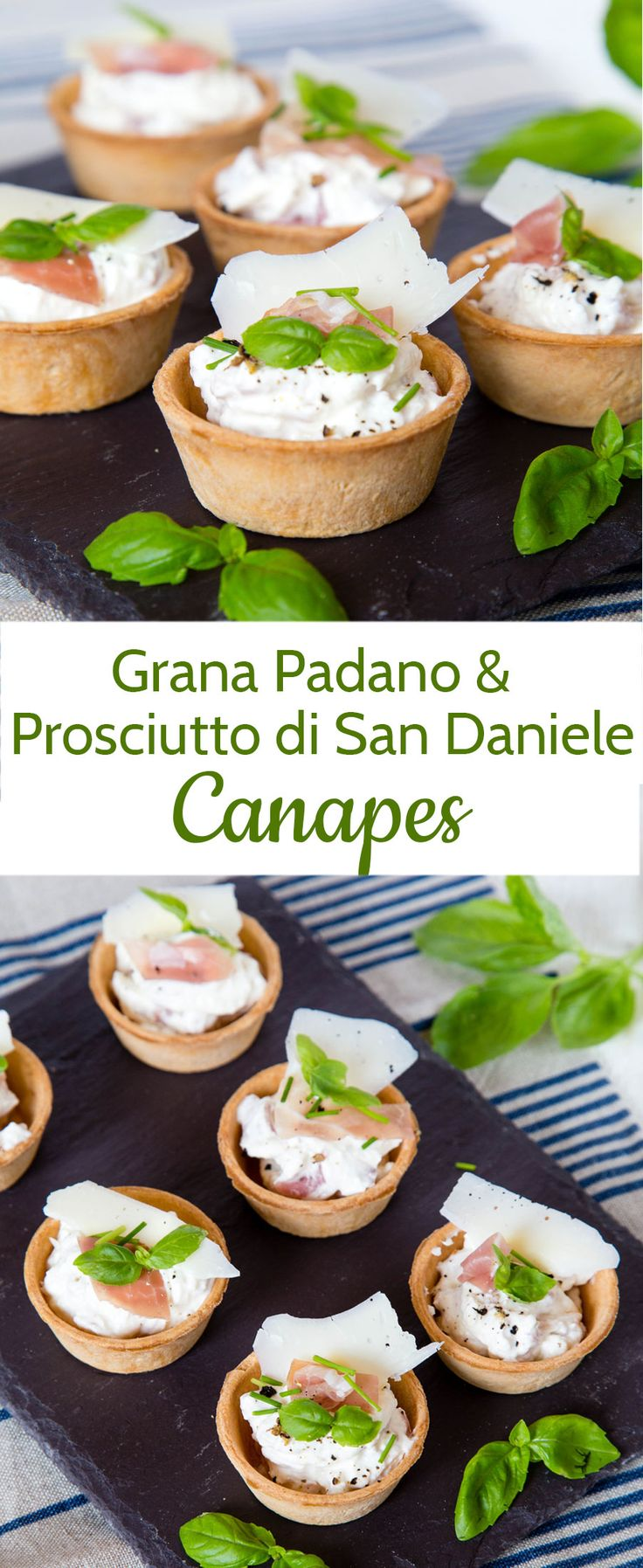 Perfect Party Food! These Grana Padano & Prosciutto di San Daniele Canapés are quick and easy to make and will have your guests flocking around you when you serve them!