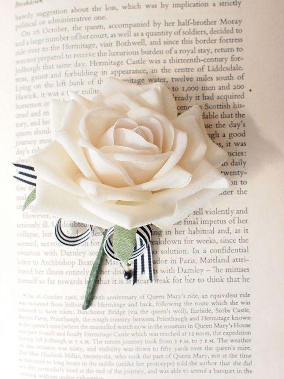 White Rose Wedding Boutonniere Corsage Everlasting Keepsake on Etsy, $11.33