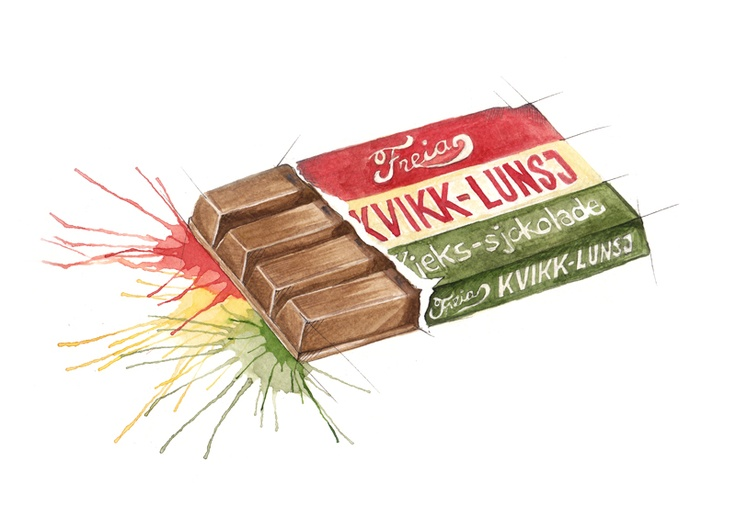 "Norwegian chocolate bar with retro layout (""Kvikk lunsj"")"