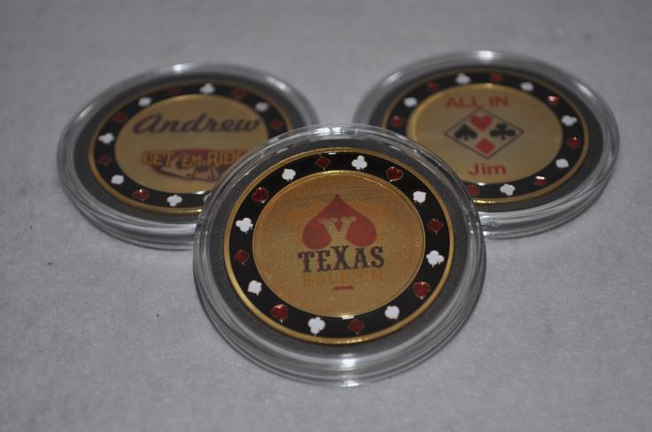 24k Gold Plated poker chip card guard cover. Personalized with laser printed sticker.