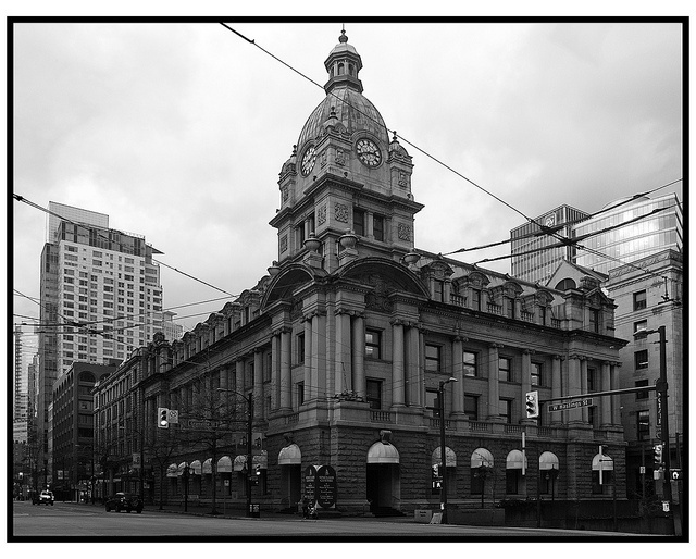 The old Vancouver Post Office (Sinclair Centre)    The Post Office was built in 1910, a fantastic accumulation of baroque ornamentation and neo-classical style, that is impressive, but stylistically a hundred and fifty years out of date even as it was going up. Still, it is impressive, and expressive too of the great political confidence of the British Empire of the period, albeit on a relatively small scale.