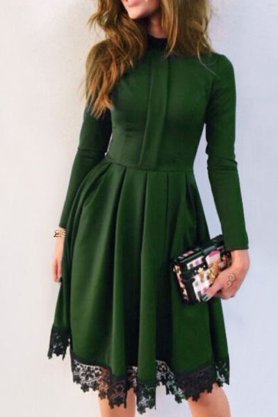 Lacework Splicing Stand Collar Long Sleeves Dress GREEN: Long Sleeve Dresses | ZAFUL