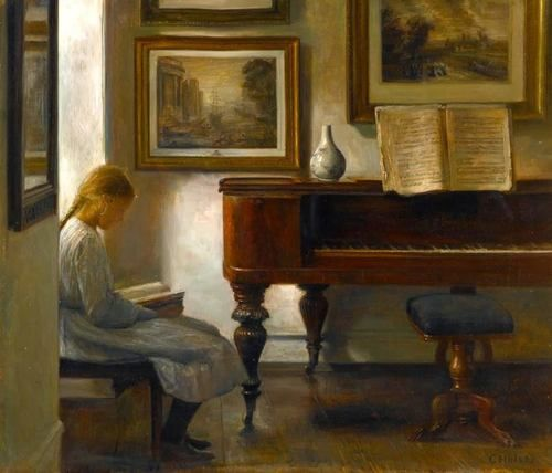 Carl Vilhelm Holsoe (Dannish, 1863-1935) - Girl in an Interior