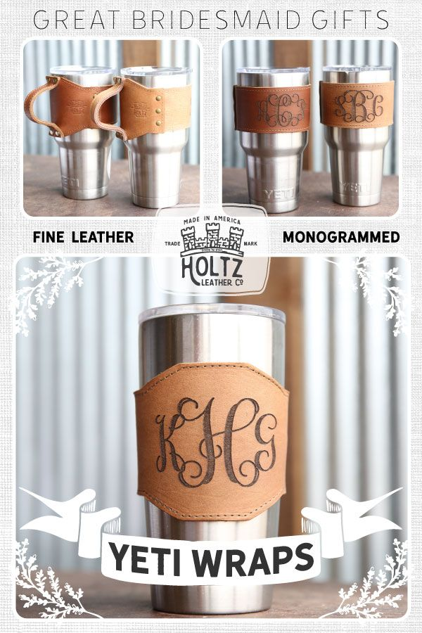 Carry your Yeti Tumbler in style with our Rocket City Yeti Wrap with Handle!  Made with the finest of Full Grain Leathers, this is a gift that your bridesmaids will use and love for a lifetime!