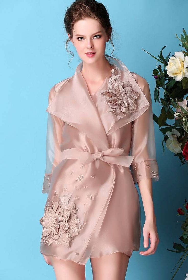 This is an elegant organza dress/jacket with three quarter sleeve and 3-dimensio…  – Products