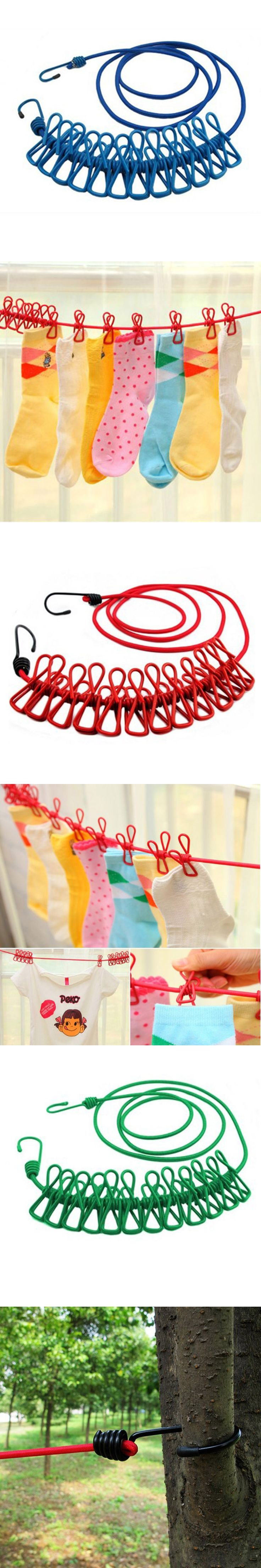 185CM Durable Wild Travel Portable Windproof Elastic Clothesline Clips Hanger Drying rack clothes hanging rope line
