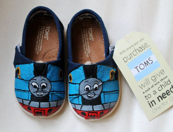 Thomas the Tank Engine TOMS by BetterTOMorrowShoes on Etsy, $60.00 ummm expensive!!!!! but cute:)