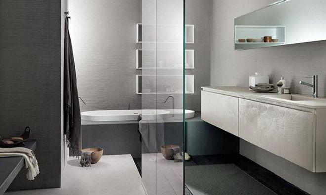 Meuble #vasque intégrée de salle de bain en #resine ciment aspect #beton