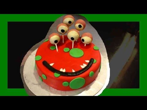 Halloween Monstertorte - Kinderhalloween Torte - Fondant Monstertorte zu Halloween - Kuchenfee - YouTube