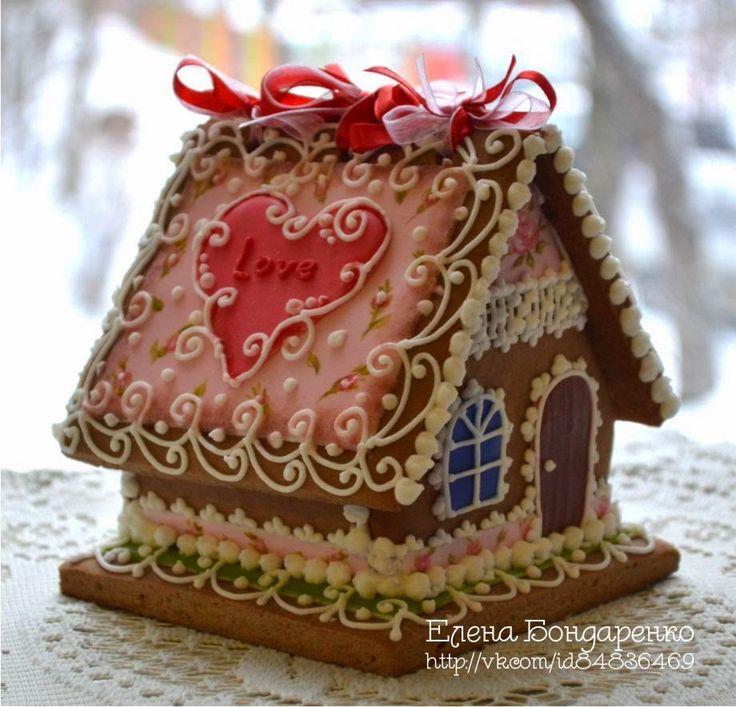 Пряничное волшебство Елены Бондаренко: Сердечный пряничный домик