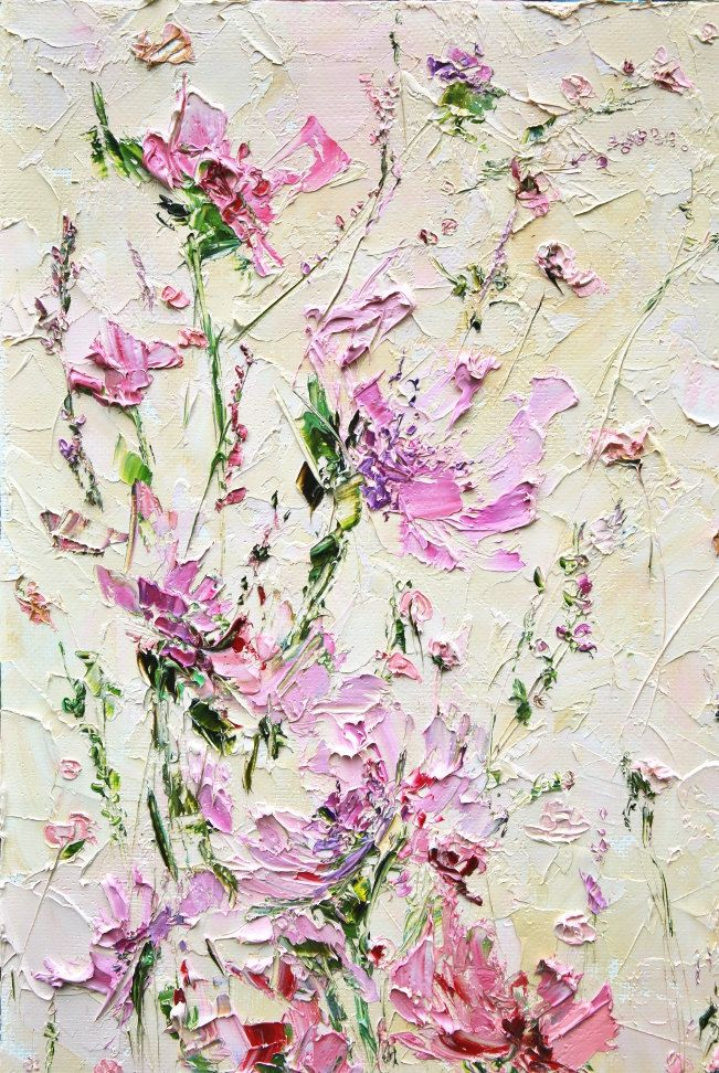 Sweet Art - Impasto Painting - Abstract Flowers Painting - Painting of house Kitchen Painting Flowers - Pink Impasto Palette Knife Painting  #ForestSandandAir #MarinaMatkina