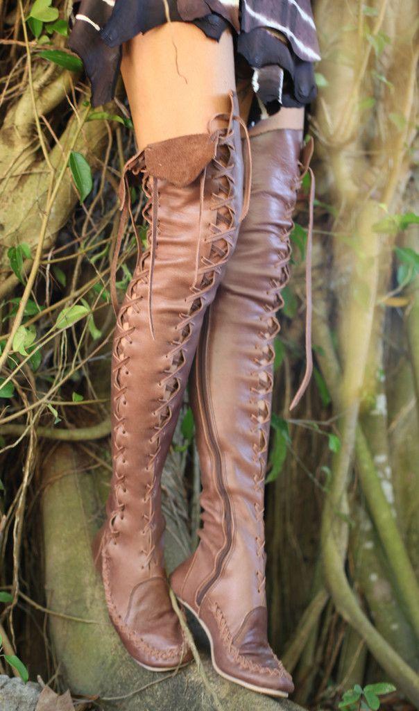 Hohe Lederstiefel – braune Overknee-hohe Lederstiefel für Frauen | Zigeuner ……