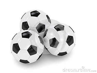 3d rendered three soccer balls isolated over white background