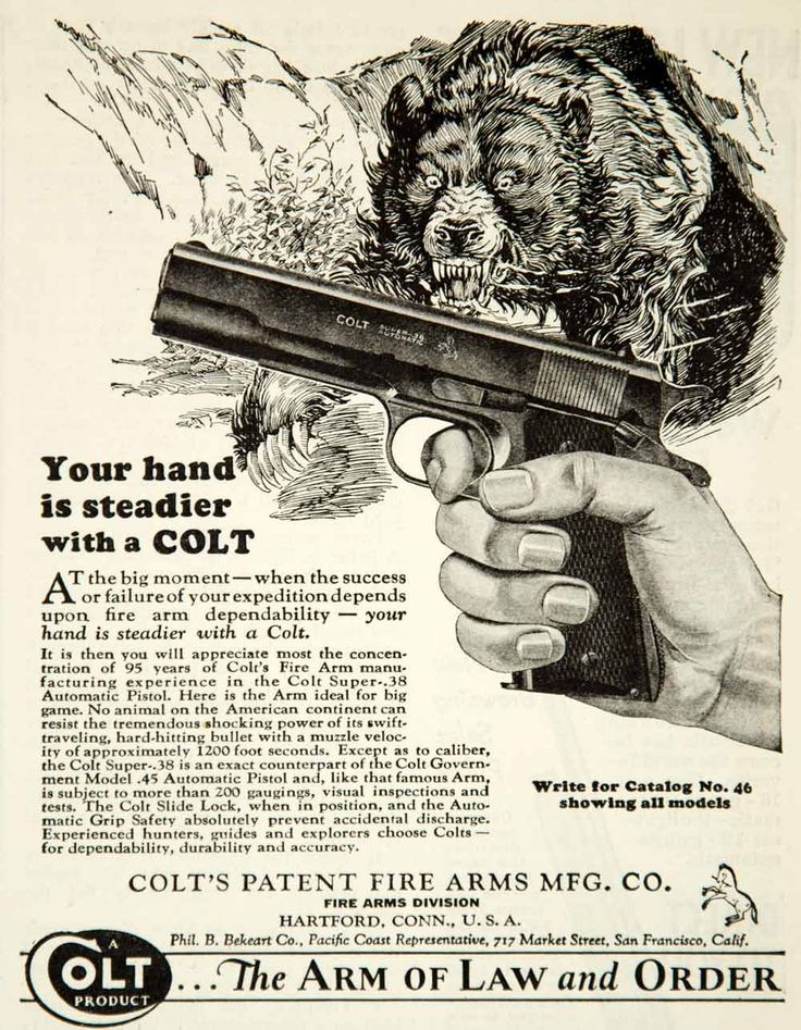 1931 black and white print ad for the Colt Super .38 automatic pistol that was made and sold by Colt's Patent Firearms Manufacturing Company. For many hunters and outdoorsmen, this weapon was considered a bear necessity.