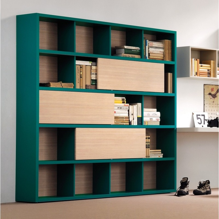 Charm bookcase with sliding doors - CLEVER.IT