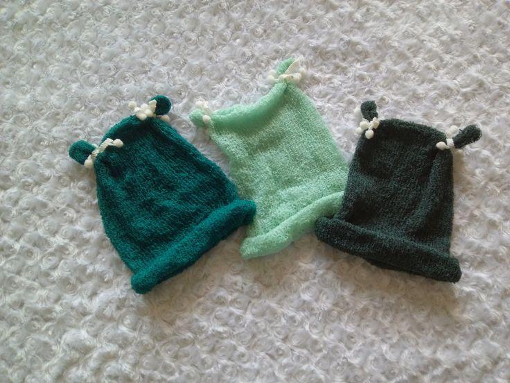 Newborn Mütze Pom Pom Baby Fotografie Outfit Photo Prop Strick-Mütze MINT PINE SAPHIRE Requisiten von MoniCasaExclusive auf Etsy