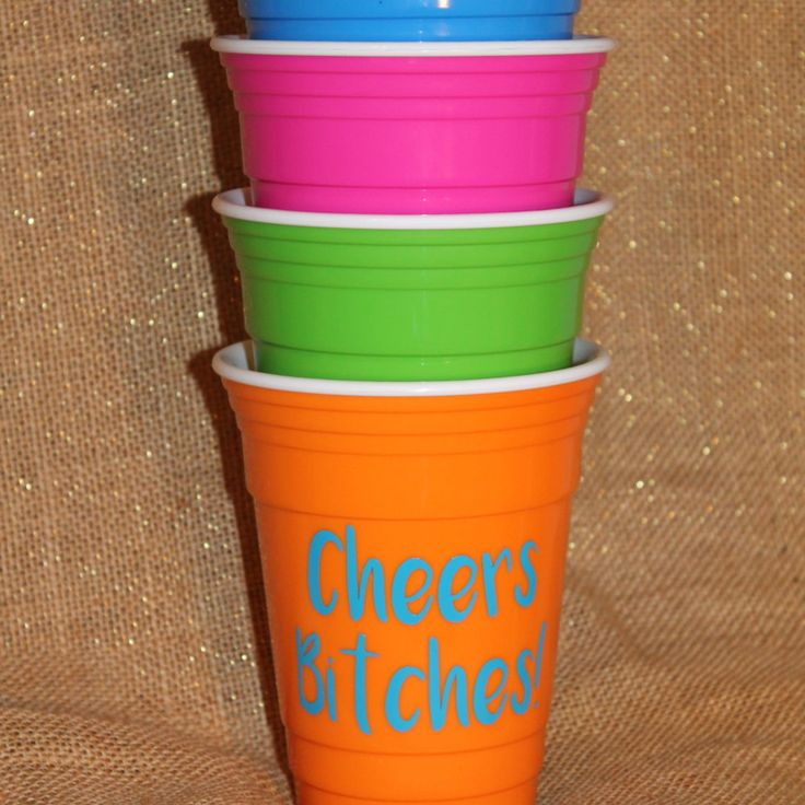 Cheers Bitches Reusable Solo Like Cup - Bachelorette Party Cups - Multiple Colors - Fonts Available by BurlapPaperSack on Etsy