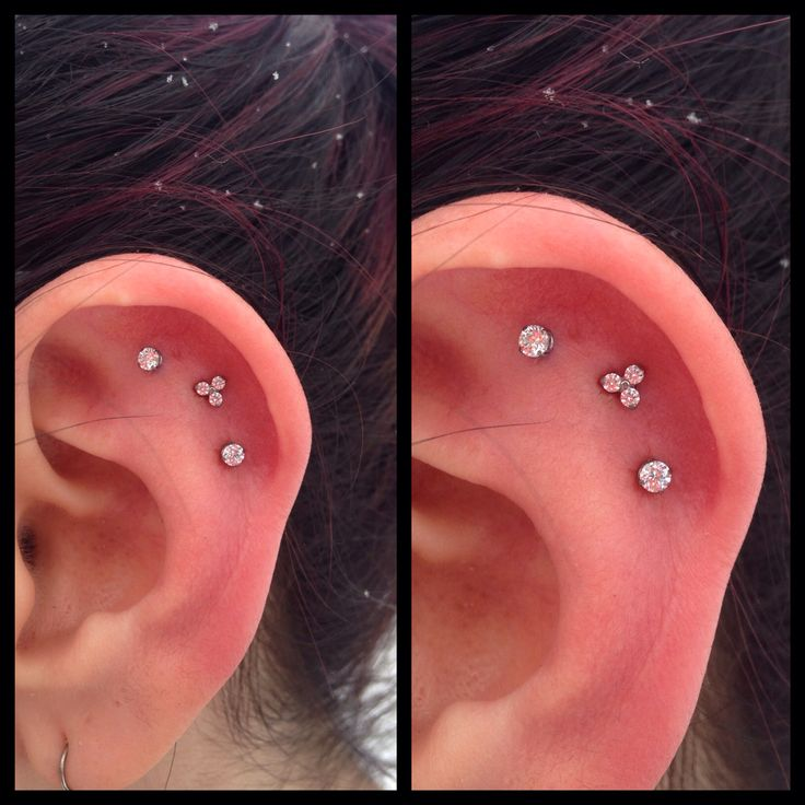 Outer conch piercing with prong set and Trinity cz from NeoMetal