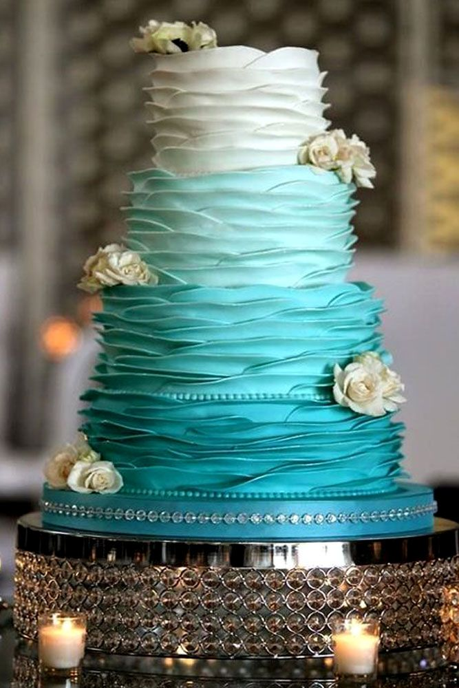 blue wedding theme tender blue cake with white roses