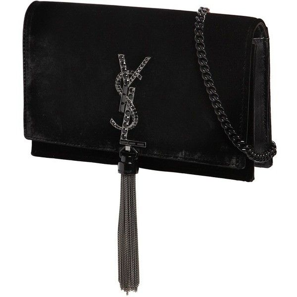 Saint Laurent Women Kate Velvet Bag W/ Crystal Logo (5,520 PEN) ❤ liked on Polyvore featuring bags, handbags, shoulder bags, crystal handbags, shoulder strap handbags, tassel handbag, velvet purse and tassel purse