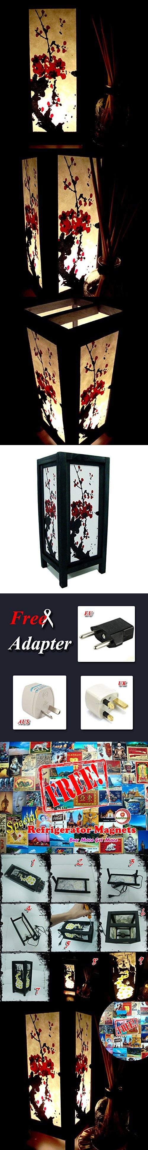 Red Japanese Cherry Blossom Table Lamp Lighting Shades Floor Desk Outdoor Touch Room Bedroom Modern Vintage Handmade Asian Oriental Wood LED Bedside Gift Art Home Garden Christmas; Free Adapter; Us 2 Pin Plug #115