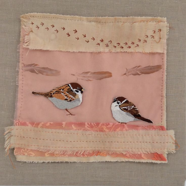 Sparrows from Irish garden birds series. Hand embroidered. www.violetshirrarran.com