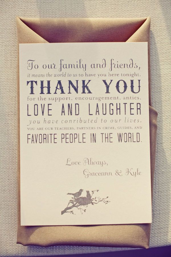 Love this idea of a thank you at the wedding!