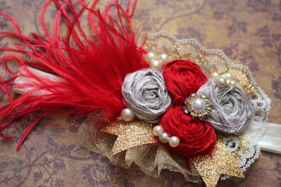 Red Gold Silver Headband, Holiday Hair Accessory, Handmade Headband, Christmas Hair Accessory, Baby Girl Headband, Rosette Headband, Photos