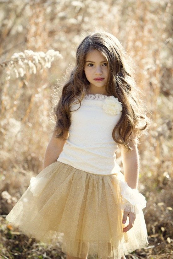 Gold Flower Girl Dress--Lace Top wit Glittering Gold Tulle Skirt--Knee Length Sewn and Lined Skirt--Weddings--Pageants--Masquerade Ball