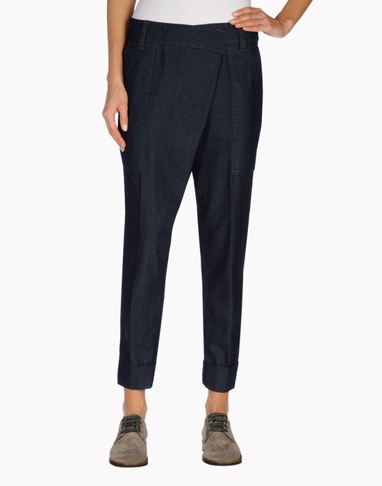 Lightweight denim asymmetric wrap-around+E53 panel pants