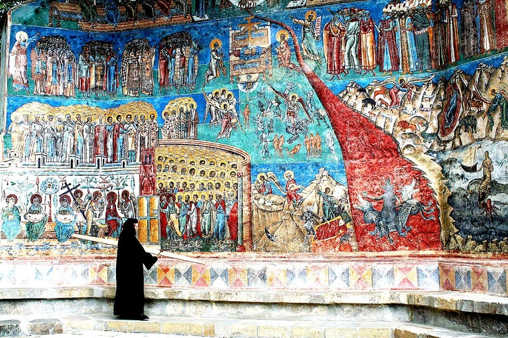 """Sistine Chapel of the East"", Voronet Monastery. Moldavia, #Romania. ""Last Judgement"" 1547 exterior painting - the cerulean blue background is so vibrant that art historians refer to ""Voronet blue"" the same way they do ""Titian red"". UNESCO World Heritage."