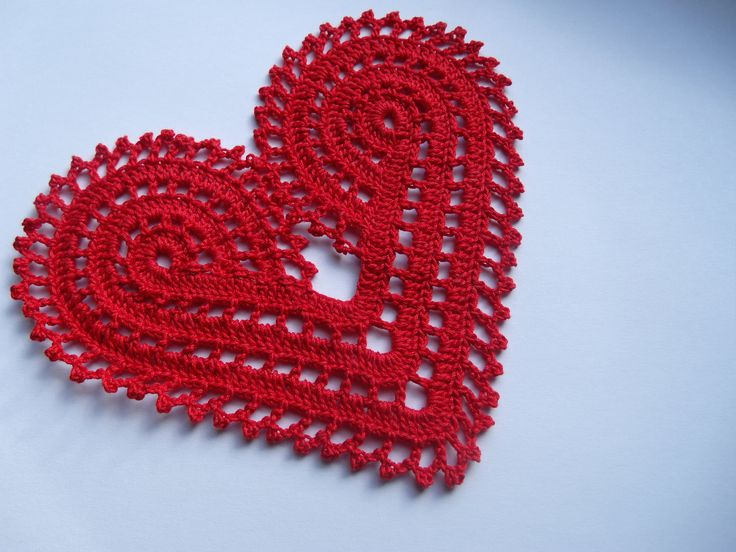 Hand Crochet Large Red Heart Doily Decoration Or Applique