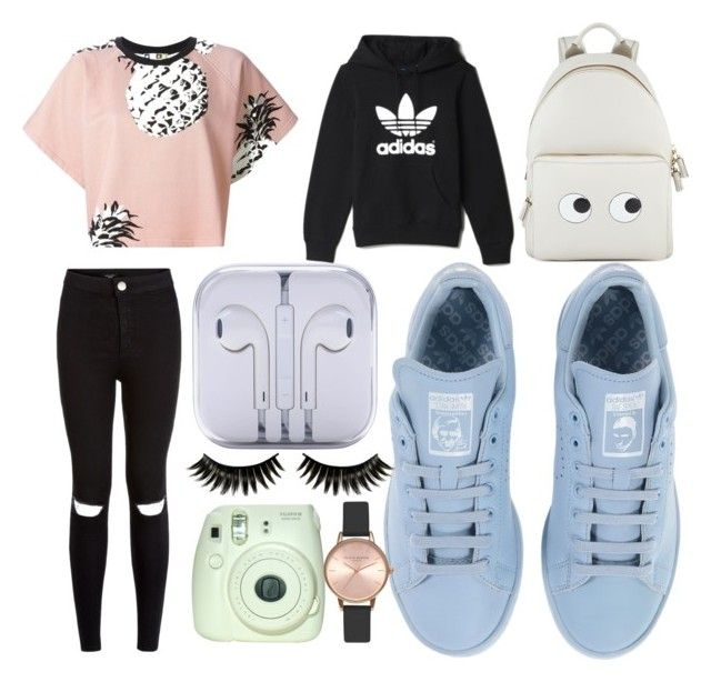 """idek ,, 12/09/15"" by estherlillymae ❤ liked on Polyvore featuring adidas, Anya Hindmarch, MSGM, Boohoo and Topshop"