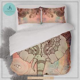 Elephant bedding, Bohemian duvet cover set, Indie Ganesh vintage bedding set, Boho elephant bedroom decor
