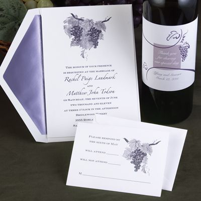 wine-themed wedding invitations and wine labels