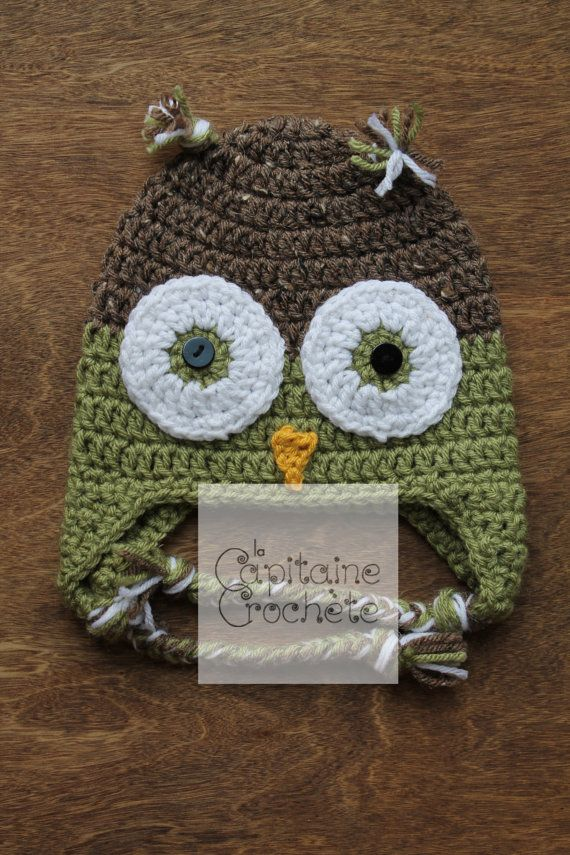 SALE 9-24 months hat Owl green brown beanie by LaCapitaineCrochete