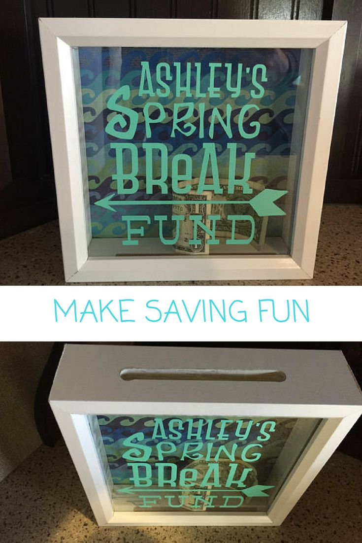 "Adventure Fund ~Honeymoon Fund ~ Fund Box ~ Spring Break Gift ~Travel Savings ~ Shadow Box Fund Bank ~ Shadow Bank ~ Piggy Bank ~ Custom  Custom Shadow Box Bank! Create your own special savings decor with this custom made shadow box fund bank! Box is 9"" square and is made custom to your savings idea! #ad #etsyshop #customized"